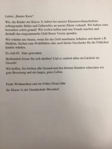 Brief an den Förderverein