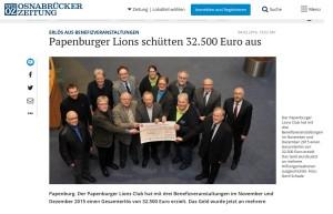 Papenburger Lions Club spendet für den Förderverein Bunter Kreis Nord-West Niedersachsen e.V.