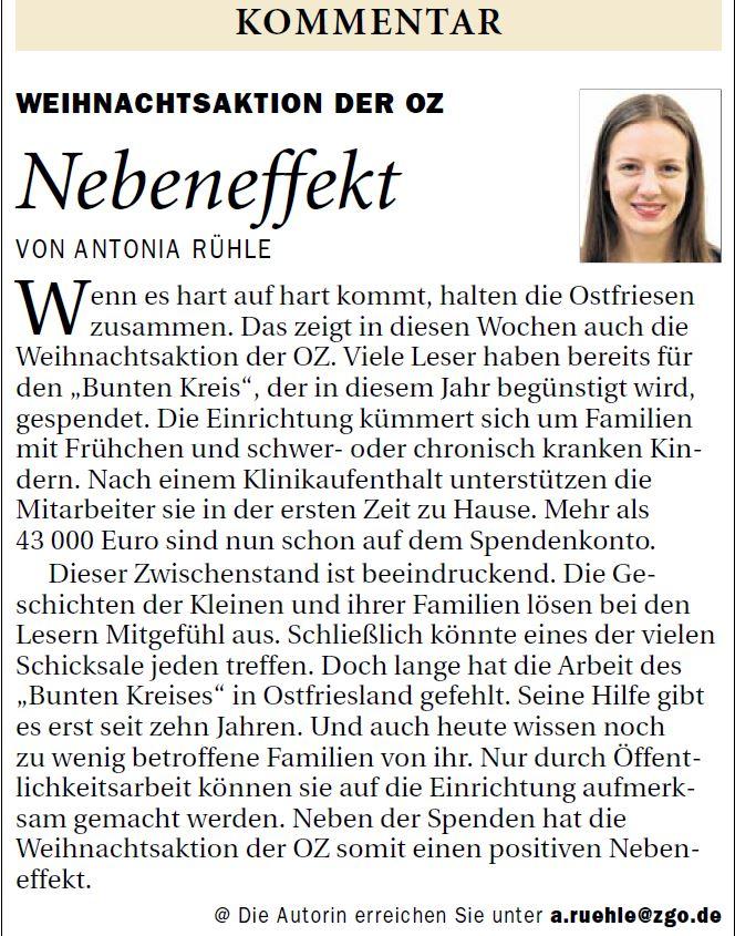 Ostfriesen-Zeitung_23.12.2017_Andrea Rühe kommentiert