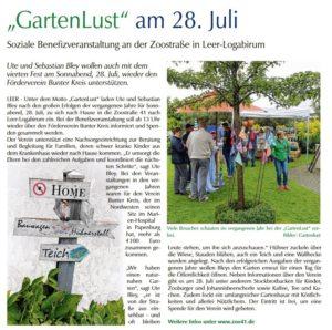 Gartenlust Bericht Ferienzeitung OZ-GA 2018